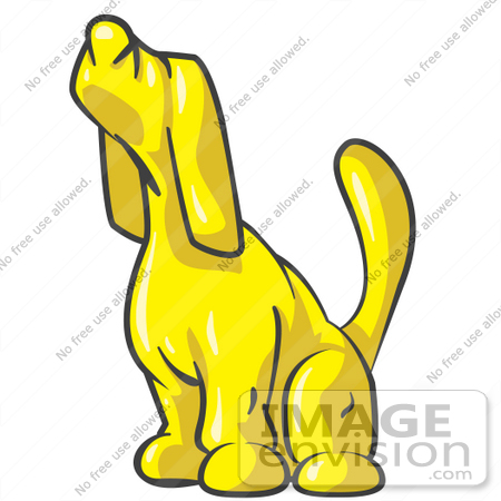 450x450 Clip Art Graphic Of A Yellow Dog Howling Or Sniffing
