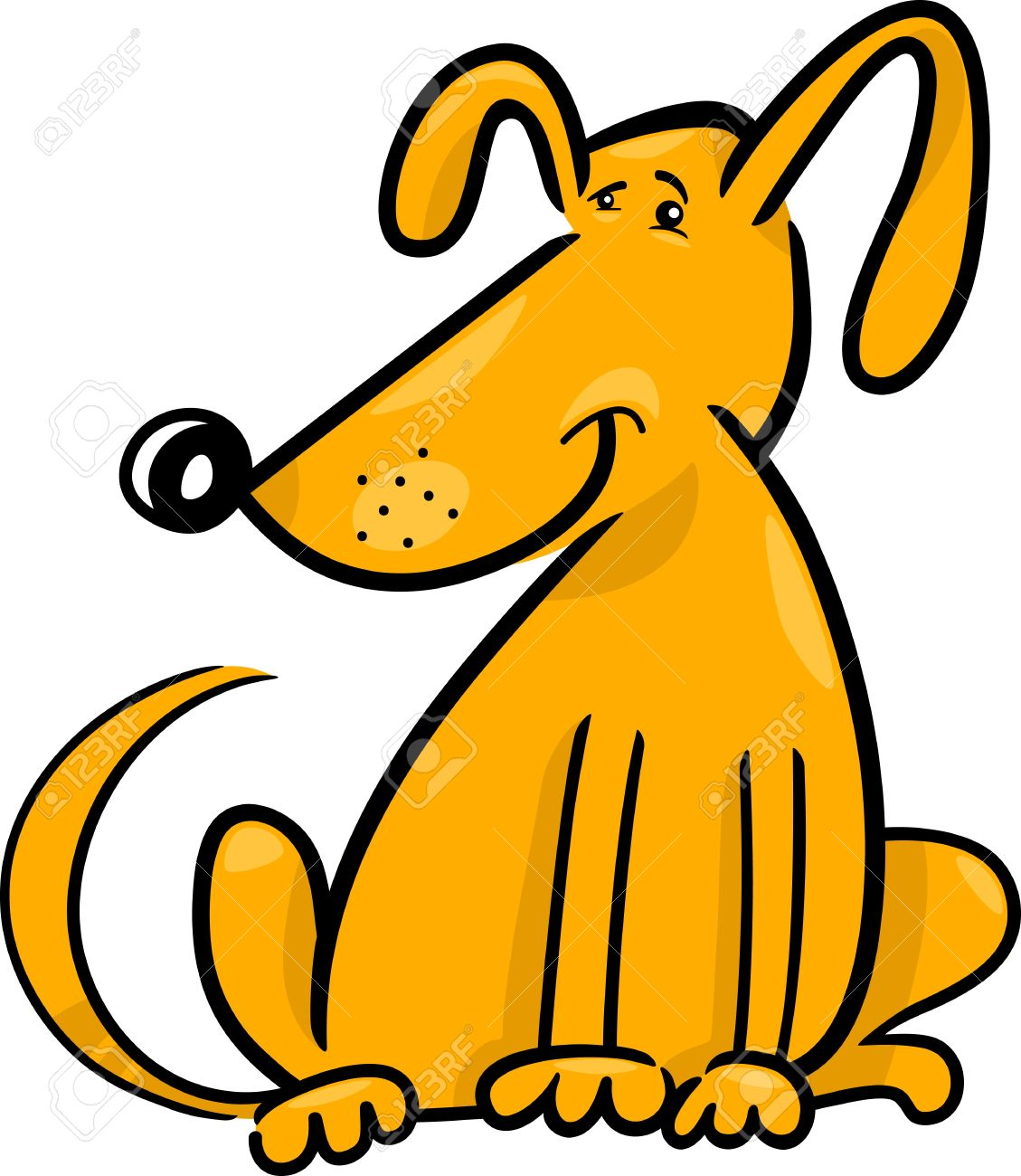1129x1300 Cartoon Doodle Illustration Of Cute Yellow Dog Or Puppy Royalty