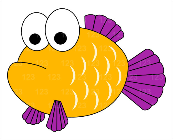 600x486 Yellow Fish Clipart
