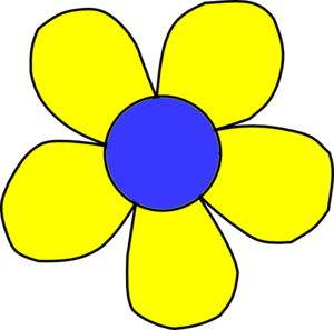 300x297 Blue And Yellow Flower Clip Art
