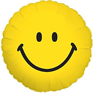 354x355 Yellow Smiley Face Traditional 18 Inch Mylar Balloon
