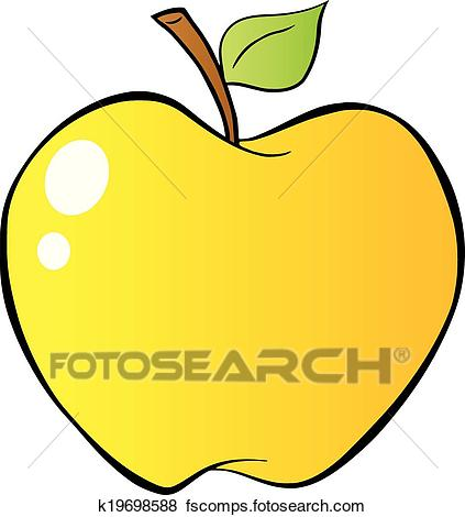 423x470 Clip Art Of Yellow Apple In Gradient K19698588