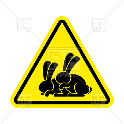 400x400 Attention Rabbit Sex Yellow Triangle Road Sign Royalty Free Vector