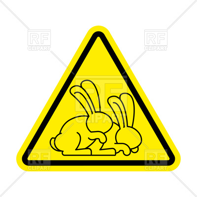 400x400 Attention Rabbit Sex Yellow Triangle Sign Royalty Free Vector Clip