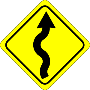 300x300 Curvy Road Ahead Sign Clip Art