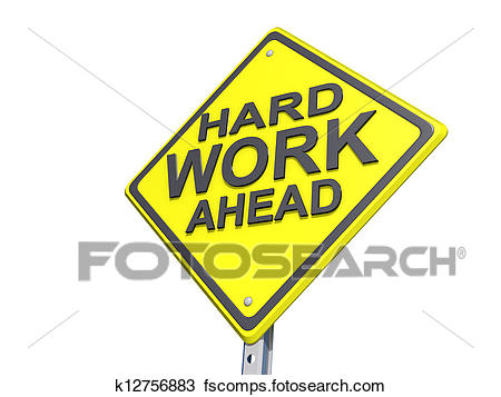 450x357 Stock Photo Of Hard Work Ahead Yield Sign White Background