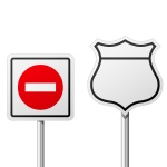 150x150 Blank Road Yield Signs Royalty Free Vector Clip Art Image