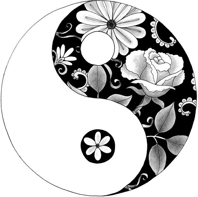 655x654 Flower Yin Yang Drawing Life Among Birds Yin Amp Yang Floral
