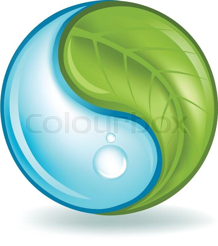 710x800 Natural Water And Plant Yin Yang Symbol. Stock Vector Colourbox