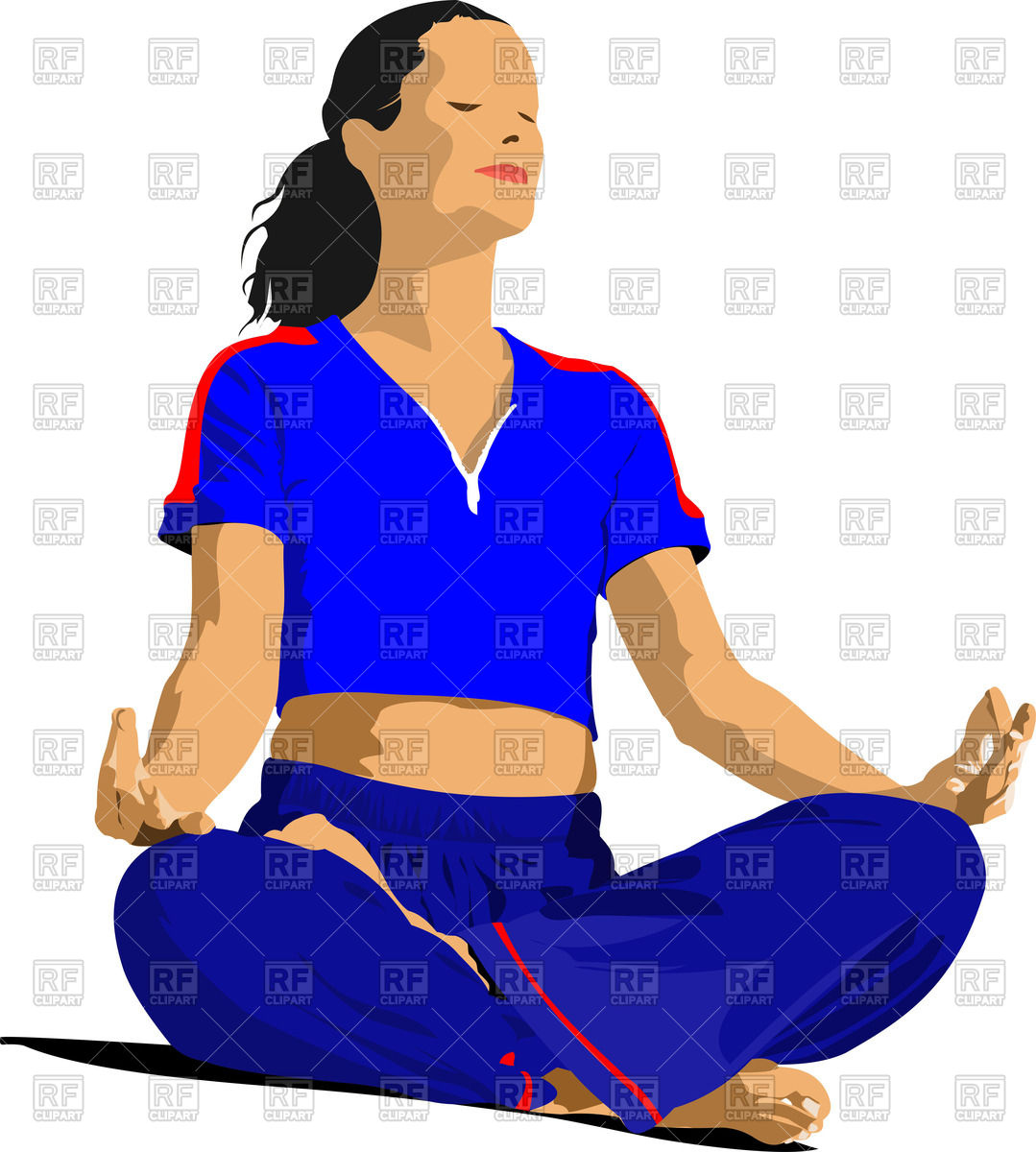 1079x1200 Girl Meditating In Lotus Yoga Position Royalty Free Vector Clip