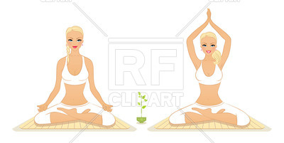 400x201 Girl Practicing Yoga In The Lotus Position Royalty Free Vector