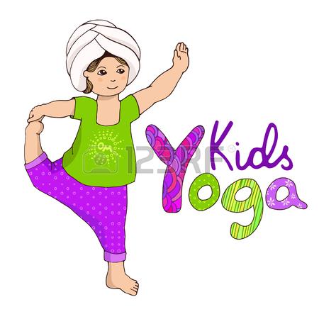 450x450 Kids Yoga. Little Girl Doing Yoga. Hand Draw Girl With Logo Yoga
