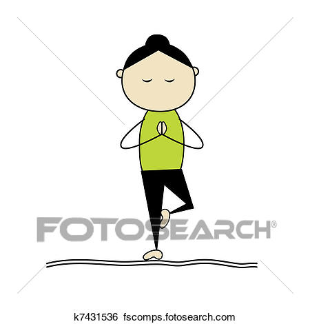450x470 Clip Art Of Woman Practicing Yoga, Tree Pose K7431536
