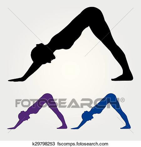 450x470 Clipart Of Downward Facing Dog Yoga Pose K29798253