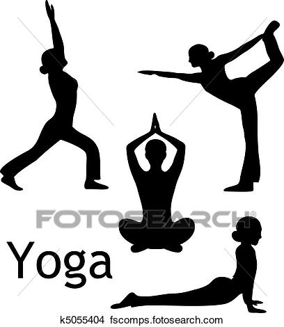 408x470 Clipart Of Yoga Poses Silhouette Vector K5055404