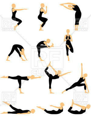 300x400 Silhouettes Of Women In Yoga Pose Royalty Free Vector Clip Art