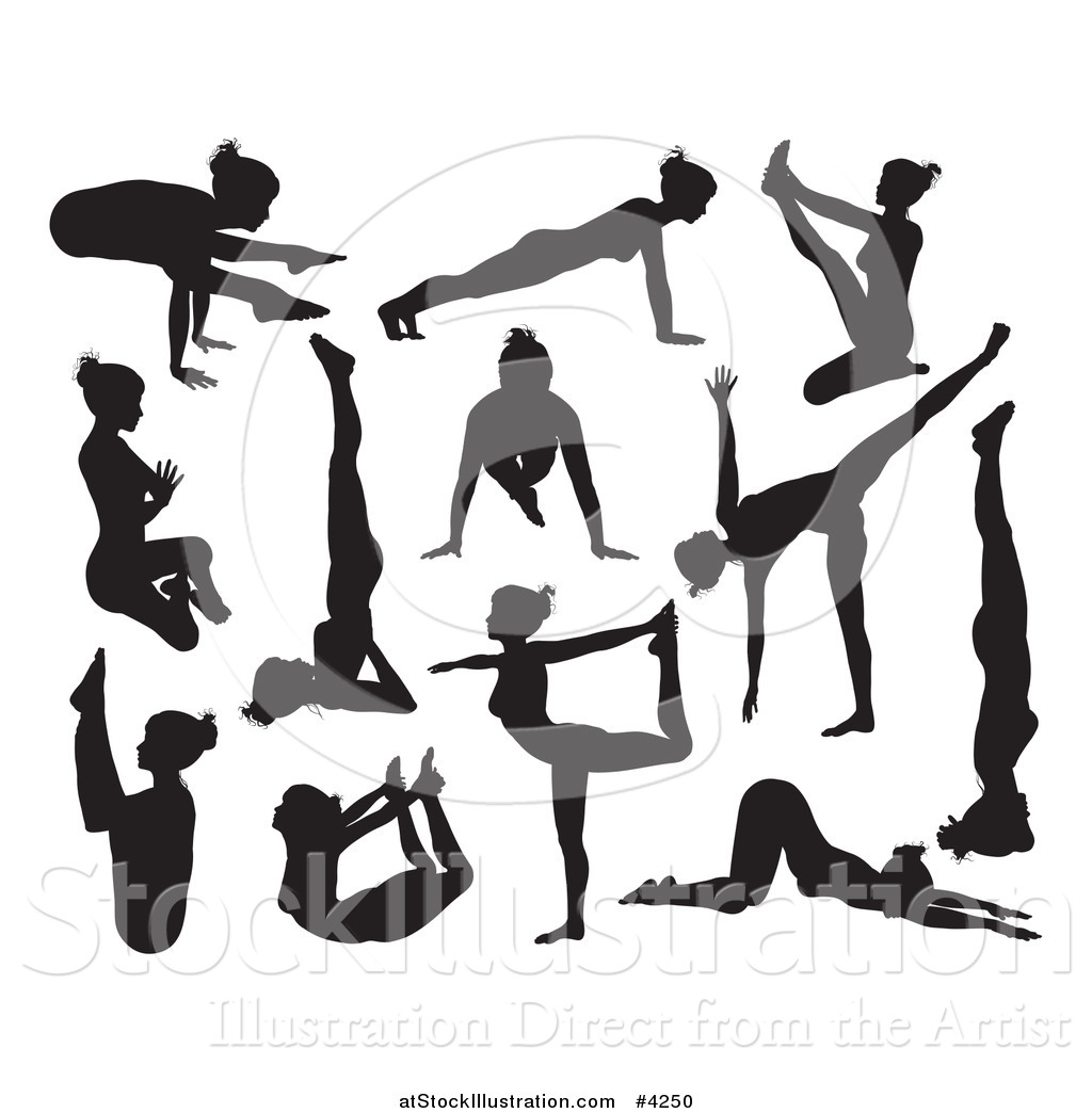 1024x1044 Vector Illustration Of Black Silhouetted Women Doing Yoga Poses By