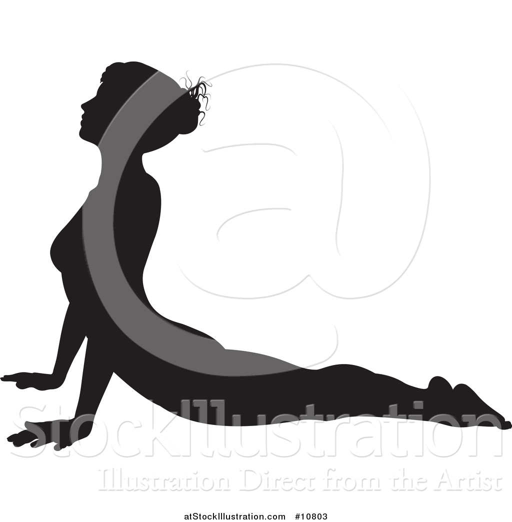 1024x1044 Vector Illustration Of A Black Silhouetted Woman In A Yoga Pose By