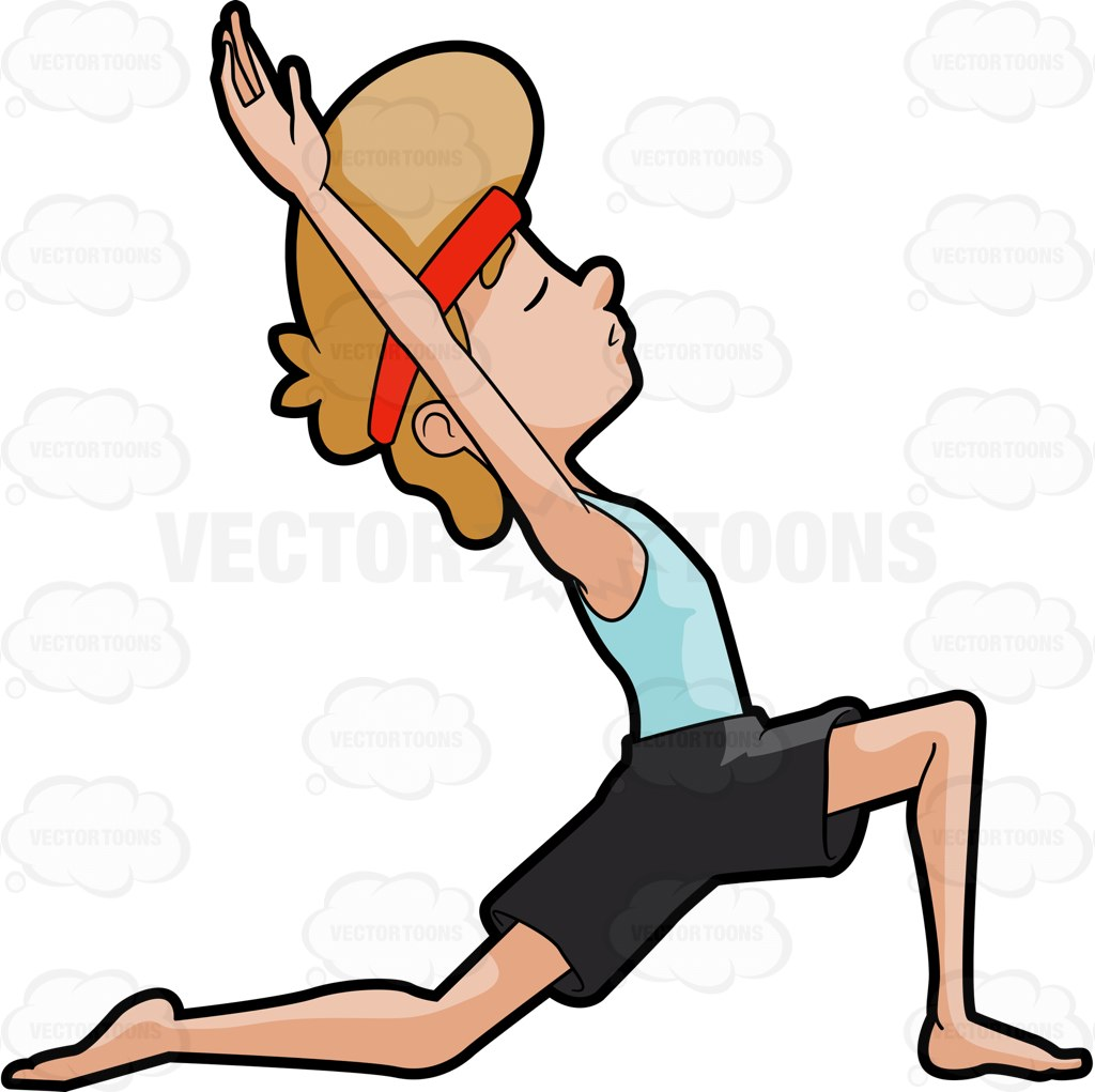 1024x1021 A Man Doing The Kneeling Lunge Yoga Pose Cartoon Clipart