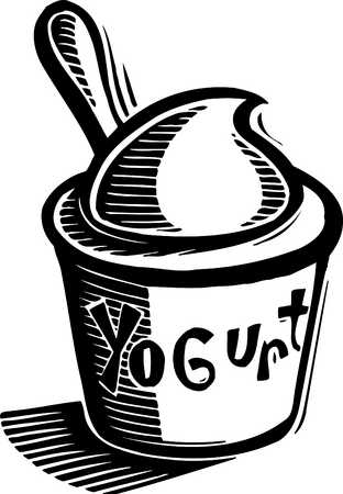 312x450 Stock Illustration Cup Of Yogurt Black And White Clipart