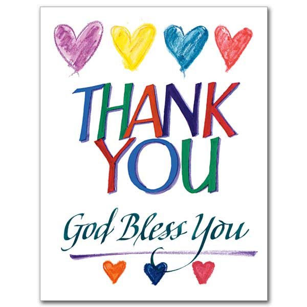 600x600 Colorful Heart Thank You Card Above Words God Bless Writting