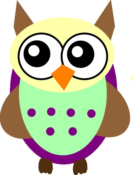 456x598 Purple Green Brown Owl Clip Art