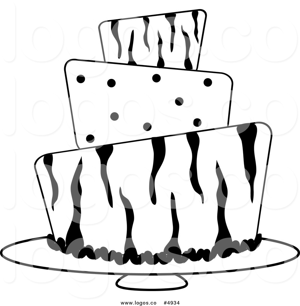 1024x1044 Royalty Free Vector of a Black and White Zebra and Polka Dot Cake