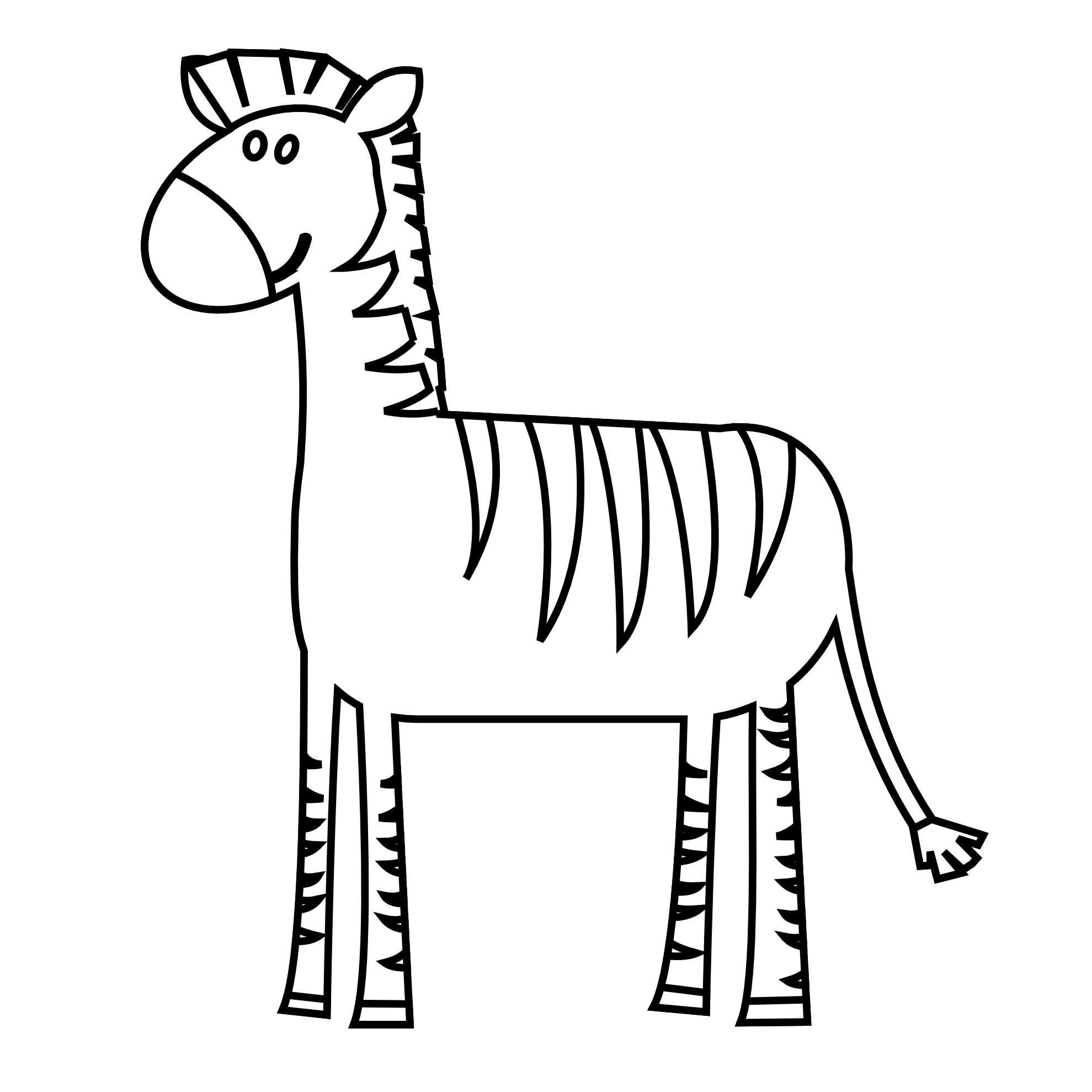 1979x1979 black and white clipart zebra