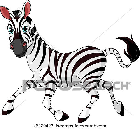 450x417 Clip Art of Funny running Zebra k6129427