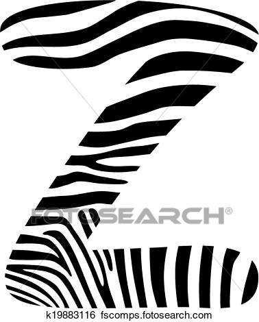 378x470 Clip Art of Font zebra, letter Z k19883116