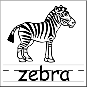 304x304 Clip Art Basic Words Zebra Bampw Labeled I Abcteach