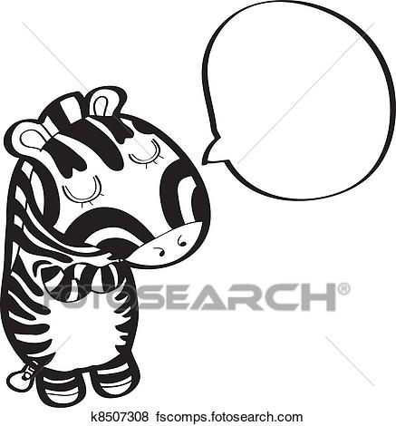437x470 Clip Art Of Zebra With Speech Bubble K8507308