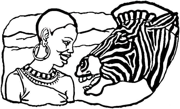750x455 African Culture Lady And Zebra Coloring Page