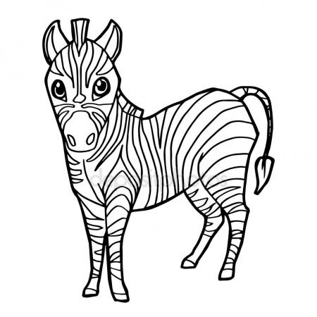 450x450 cartoon cute zebra coloring page vector. — Stock Vector