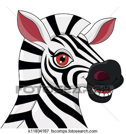 442x470 Clip Art Of Zebra Head Cartoon K11834167