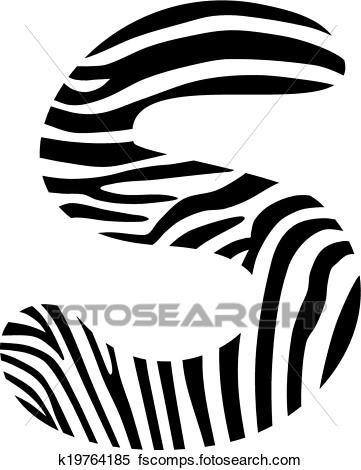 361x470 Clipart Of Font Zebra, Letter S K19764185