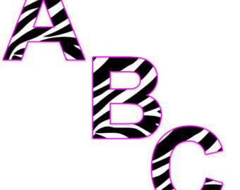 340x270 Pink Zebra Letters Etsy