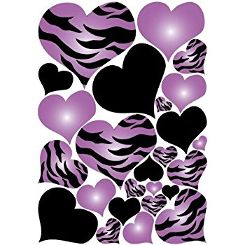 350x350 Purple Radial Hearts, Black Hearts, And Zebra Print