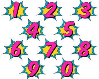 340x270 Superhero Clipart, Comic Book Clip Art, Comic Book Numbers