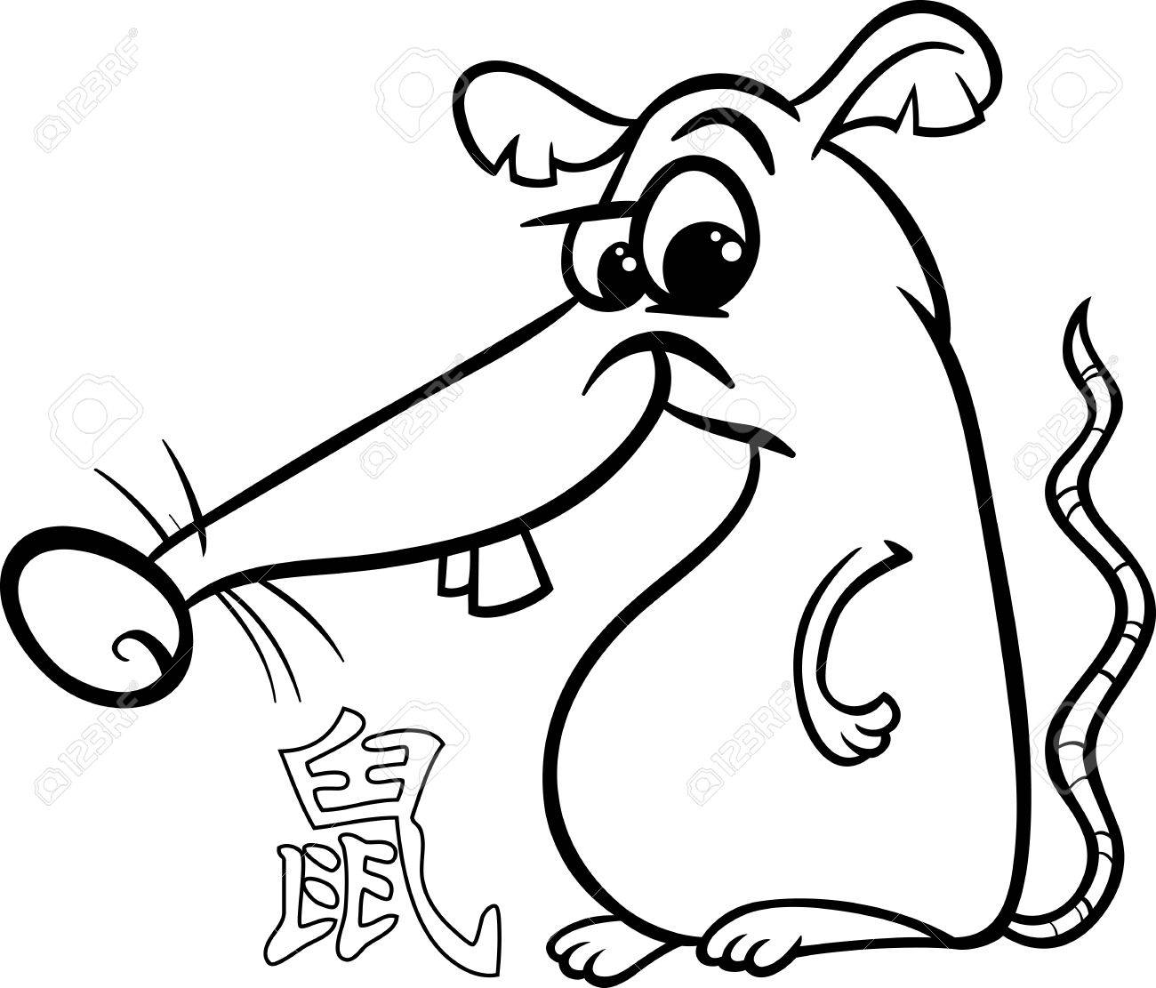 1300x1111 Black And White Cartoon Illustration Of Rat Chinese Horoscope