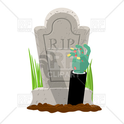 400x400 Grave And Hand Of Zombie. Halloween. Royalty Free Vector Clip Art