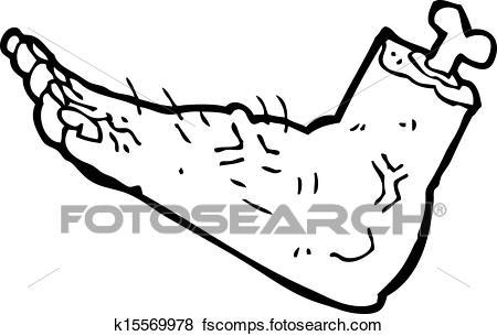450x305 Clip Art Of Cartoon Zombie Foot K15569978