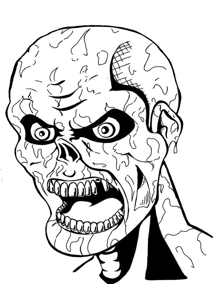 736x946 Scary Zombie Coloring Page