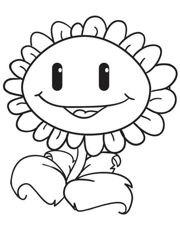 600x776 Sunflower Sweet Smile In Plant Vs Zombie Coloring Page Coloring Sky