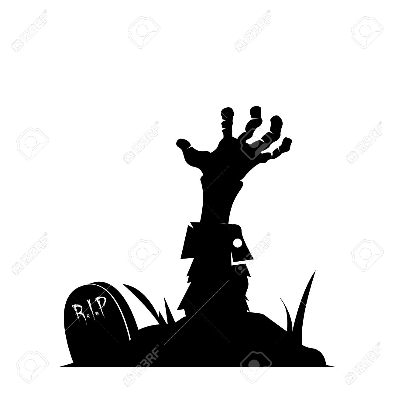 1300x1300 Isolated Silhouette Of A Zombie Hand, Vector Illustration Royalty