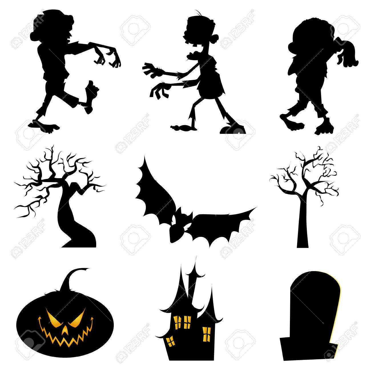 1300x1300 Abstract Halloween Silhouette Icons On White Background Royalty