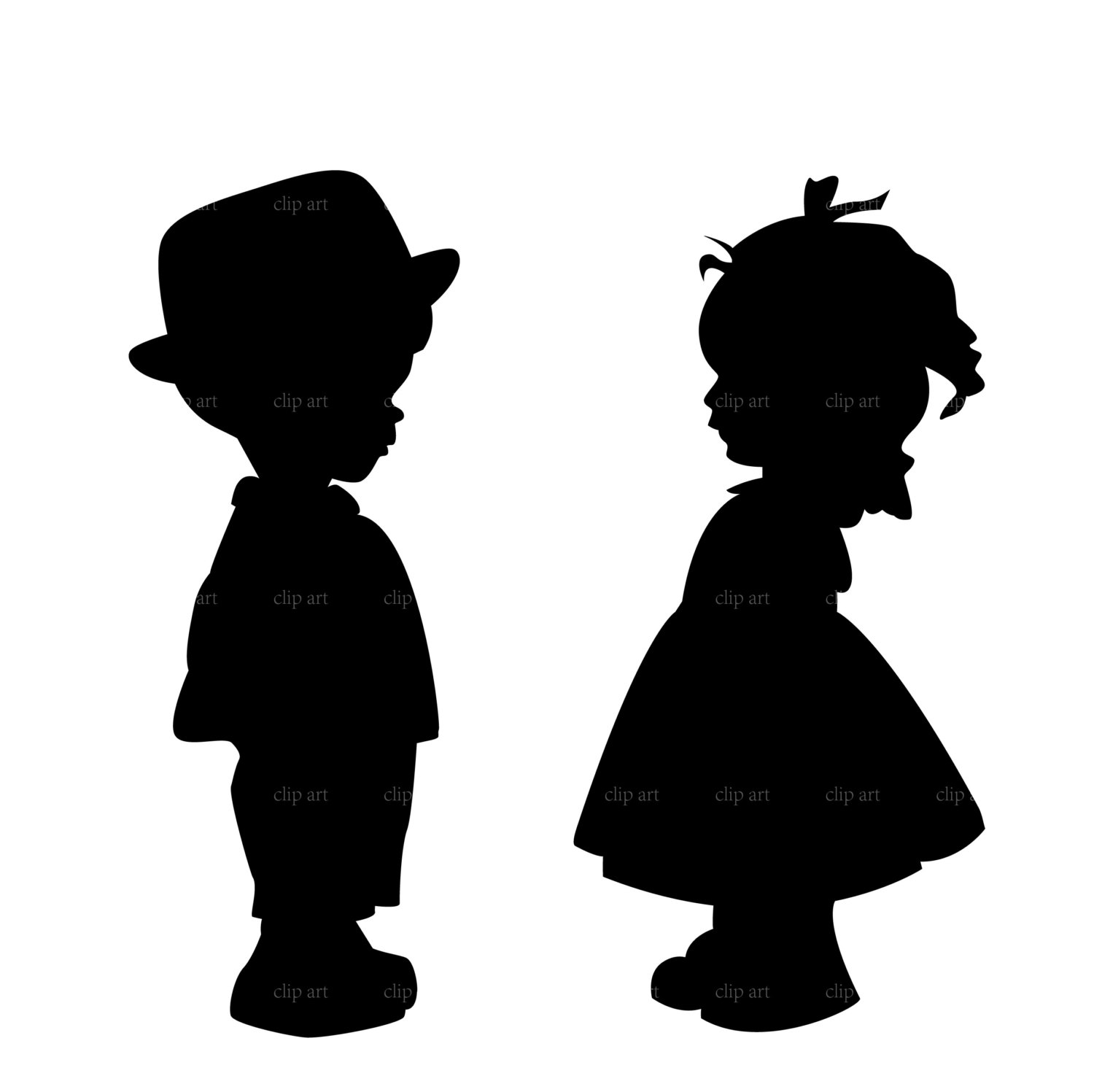 1500x1497 Boy And Girl Silhouette Clip Art