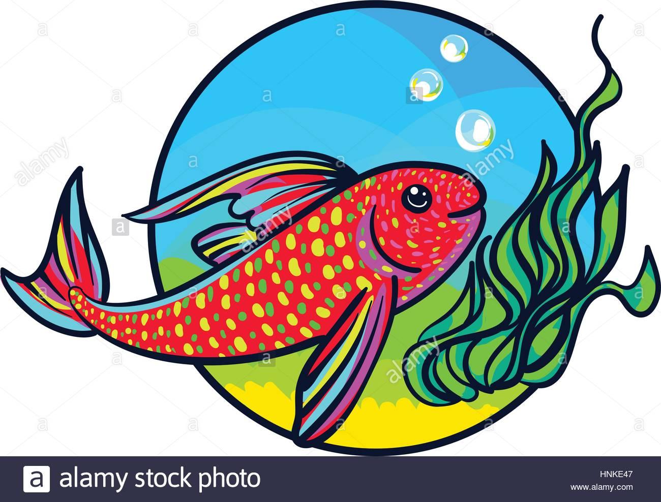 1300x988 Bright Aquarium Fish. Tropical Animal Art, Cute Cartoon Style