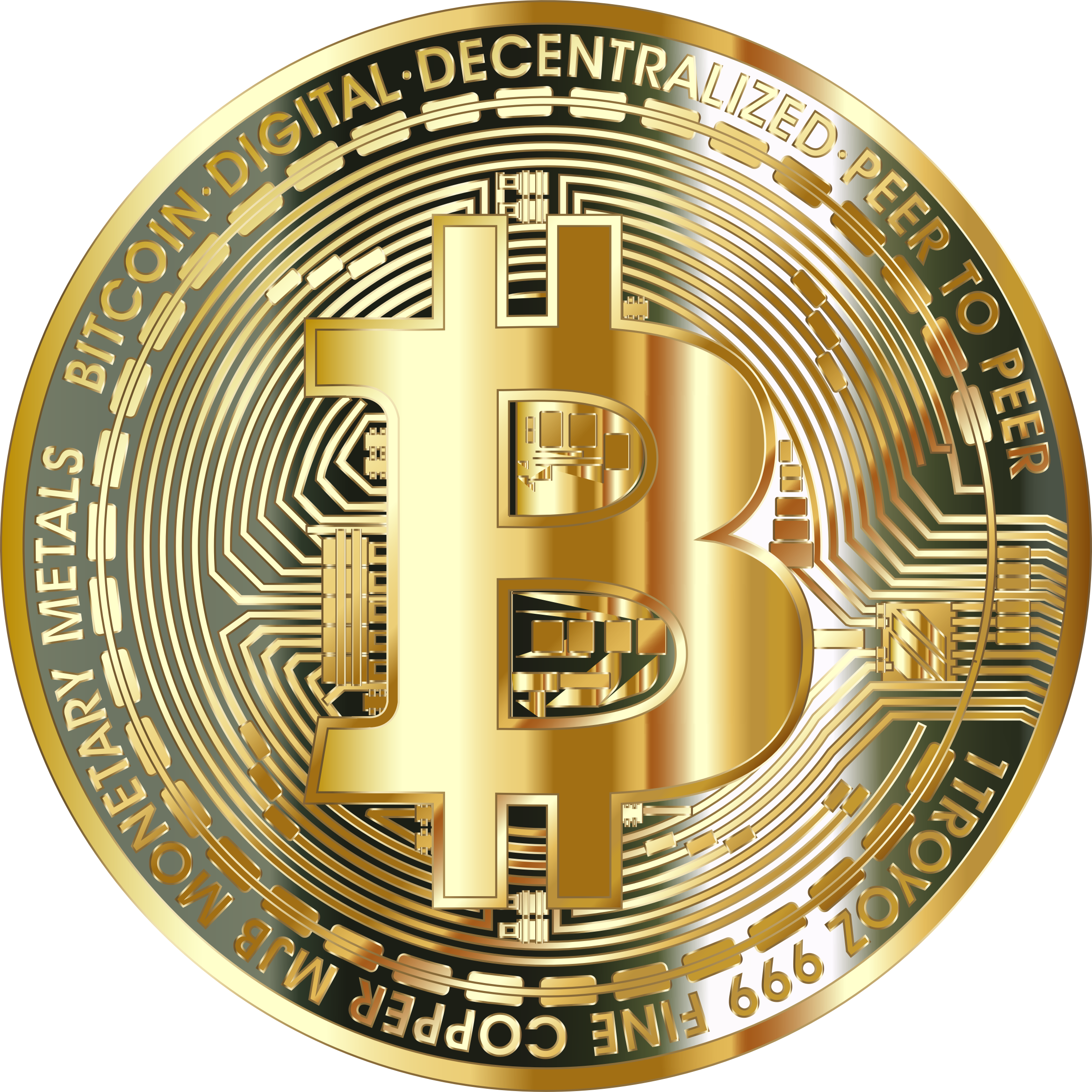Gold Bitcoin Coin based on a design from Pixabay.